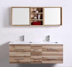 Meuble salle de bain double vasques SAUNATURE (1400mm + 280mm ) Meuble salle de bain double vasques SAUNATURE,Rangement 1400mm [BMC1047] - 699,00€ :