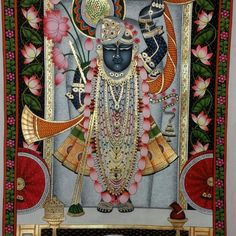 Shreenathji Pichwai Painting By Kailash Sahu Buy this from The Art and craft Gallery Tanjore Painting, Krishna Painting, Krishna Art, Pichwai Paintings, Indian Art Paintings, Indian Traditional Paintings, Traditional Art, Peacock Embroidery Designs, Easy Canvas Art