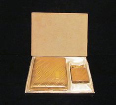 Vintage Evans Cadet Gold Tone Working Lighter & Matching Cigarette Case In Original Box From PowerOfOneDesigns