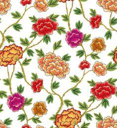 Korea Traditional Pattern Flowers - white
