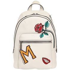 Marc Jacobs Women Mj Collage Biker Leather Backpack (13.285.755 IDR) ❤ liked on Polyvore featuring bags, backpacks, leather daypack, leather rucksack, marc jacobs backpack, bike bag and leather bags