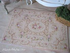 This rug measures 9.5cm x 13.5cm. This is printed on quality printer-prepared cotton woven fabric.    ♥ Colours are a mellow warm cream and roses