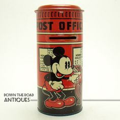 Tin Disney Mickey Mouse Post Office Bank