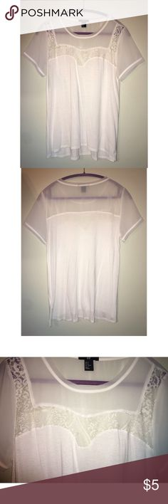 H&M tee with lace detailing ✨ White tee from H&M with mesh and lace detailing at the top. Love this top & have worn it many times but it's too small for me now! Although still in good condition! Make an offer and request bundles 💕✨ H&M Tops Tees - Short Sleeve