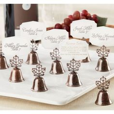Autumn Leaf Kissing Bell Place Card Holders