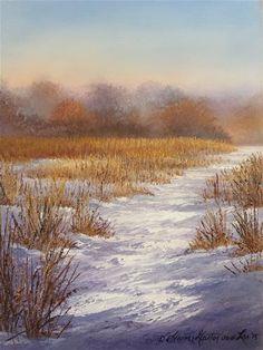 "Daily Paintworks - ""Ojibway Winter Trail "" - Original Fine Art for Sale - © Elaine Guitar van Loo"