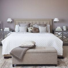 Elegant bedroom photo in Other with purple walls and carpet everything is perfectly placed.   Double tab for more images.  #fortheloveoflinen #linen #bedlinen #tellmemore #interior4all #linenbedding #pureline #purelinenutrition #interiordecor #bedroomdecor #bedroominspiration #handmade #handmadebedding  #tailoredmade #instadaily #purplewall  #bedcoverquilt SuperiorCustomLinens-handmade linen bedding baby bedding