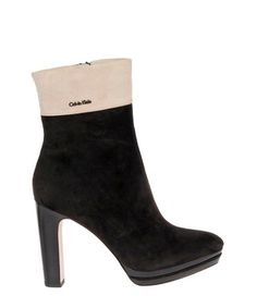 Beige & black leather heeled boots Sale - CK Sale