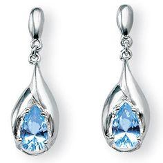Palm Beach Jewelry PalmBeach 2.20 TCW Pear-Cut Topaz Drop Earrings in Sterling Silver