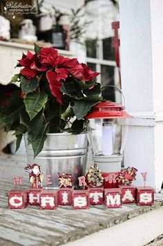 Merry Christmas sign with poinsettia and lantern from my Front Porch Hot Cocoa Party :: Part 2