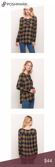 🆕 Lace Up Plaid Shirt Another go to piece for the Fall/Winter casual wardrobe.  Garment wash Plaid lace up shirt in mustard.  Material:  100% Rayon Mystree Tops Tunics