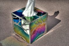 Hunter's Moon - Stained glass tissue box cover with black and white iridescent glass, decorative soldering on copper foil overlay