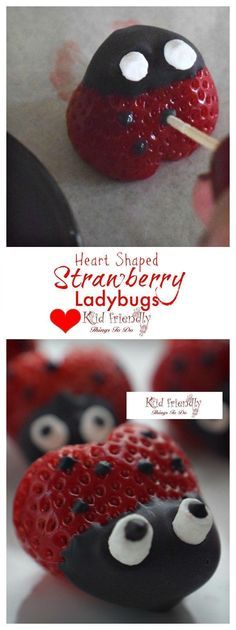 Heart shaped Chocolate Covered Strawberry Ladybugs for a fun food treat on Valentine's Day, Spring, Summer, Fairy Garden Parties or any day! Easy, Fun and delicious. Kids love 'em! http://www.kidfriendlythingstodo.com