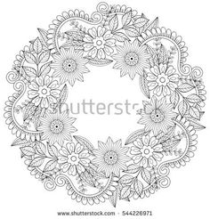 Circle Summer Doodle Flower Ornament With Butterfly. Hand