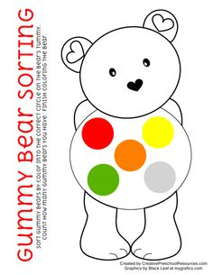 Gummy bear sorting and Teddy Bear song printables
