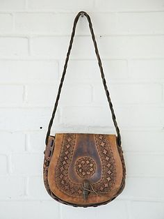 Free People Vintage Tan Lock Boho Bag