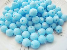 Vintage Opaque Pale Sky Blue Faceted Glass by alyssabethsvintage, $2.25