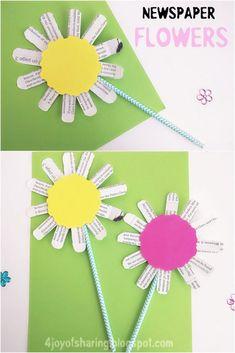SIMPLE NEWSPAPER FLOWER CRAFT #kidscraft #flowers #craftsforkids #recycling #kidsactivities