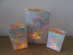 10 Large Map Luminaries Travel Theme Made to Order by Oldendesigns