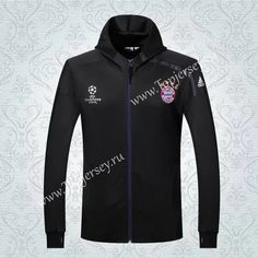 Cheap soccer jersey from topjersey 2016-17 Bayern München UEFA Champions League Black Soccer Hooded Thailand Jacket-Bayern München| topjersey