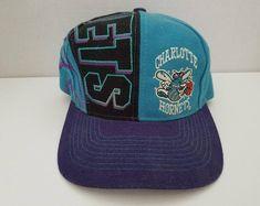 7bc24c5bad4 Vintage Deadstock 90 s NBA Charlotte Hornets NBA All Over Snapback Hat