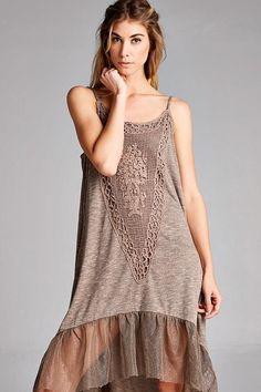 Taupe Cotton Crochet Applique Spaghetti Strap Dress Fishnet Hem Boho Gypsy #ODDI #BOHOBOHEMIANGYPSY #CASUAL
