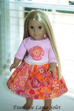 American girl 18 doll clothes doll pink by francoiselamasolet