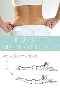 The key to melting that muffin top & getting a small waist is by targeting your lower back. After your usual ab workout, flip over on your stomach and work the opposing muscles with *THIS* incredibly effective muffin top exercise. Sport Fitness, Health Fitness, Fitness Shirts, Muffin Top Exercises, Tummy Exercises, Lower Back Fat Exercises, Fitness Motivation, Estilo Fitness, Love Handles