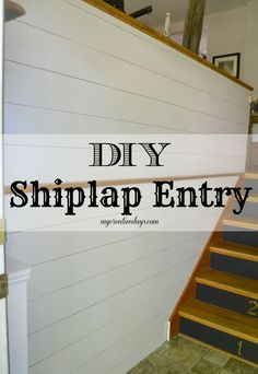 FABULOUSLY Simple Tutorial for DIY Ship Lap Wall Treatment! Love how she styled up her Entry Way with this easy wall treatment! mycreativedays.com
