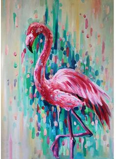 Easy Canvas Painting, Diy Canvas, Diy Painting, Canvas Art, Flamingo Painting, Flamingo Art, Pink Flamingos, Pink Abstract, Abstract Art