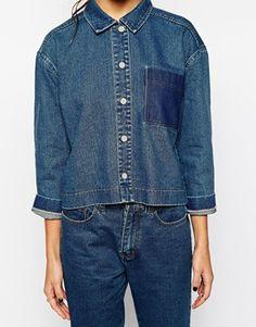 Enlarge Daisy Street Boxy Cropped Denim Shirt