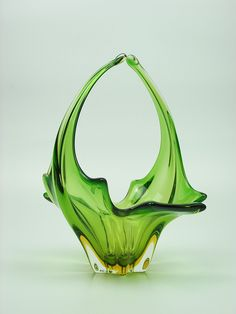Sculptural Murano sommerso yellow & green glass bowl by art-of-glass, via Flickr