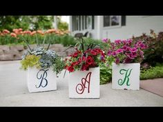Monogrammed Cinder Block Planter // Garden Answer - YouTube