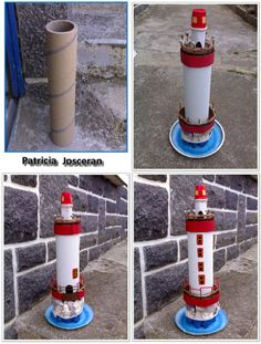 Beautiful lighthouse made of cardboard - * Briko & Déko homemade * Seashell Crafts, Beach Crafts, Summer Crafts, Recycled Crafts, Diy And Crafts, Crafts For Kids, Cardboard Crafts, Paper Crafts, Craft Projects