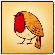 Fat Robin, lino print with chine colle.