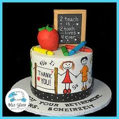 This retirement cake was made for a very well loved teacher! It's a fondant cake which features an apple (of...