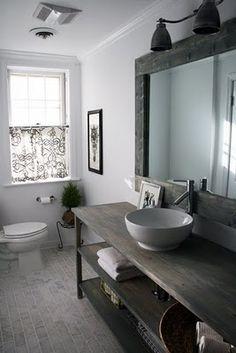 Floor Tile! bathroom renovations, mirror, open shelves, bathroom vanities, rustic bathrooms, bathroom designs, sink, open shelving, design bathroom