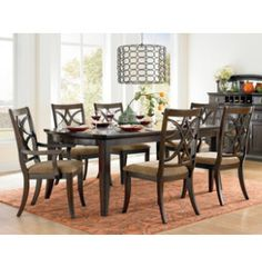 Tulare 6 Piece Dining Set Made Of Poplar Solids And Wild Grain Walnut  Veneers Table Top Features A Protective Top Coat Finish Adjustable Levelers  Iu2026 ...