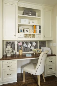 Kitchen Office Martha O'Hara love the built-in Bulletin Board!