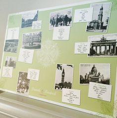 Hochzeitspapeterie Vintage-Postkarten Tischplan