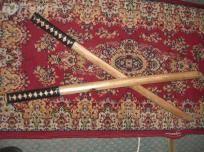 """NEW Set of 2 31"""" NATURAL PRACTICE SWORD Wooden Bokken"""