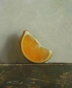 Original Oil Painting - Orange Wedge - Contemporary Still Life Art - Nelson