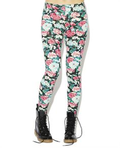 "Fun, fresh, and fashionable legging features a multicolor floral  printed knit body with an elasticized waist, and a pull on construction. Model is 5'9"" and wears a size small.      95% Polyester / 5% Spandex     Machine Wash     USA"