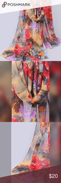 """🌺 Floral Print Chiffon Shawl / Wrap, 60"""" x 20"""" This is a beautiful brand new Floral Printed Chiffon Shawl / Wrap. The size is 60"""" x 20"""". Tbe Wrap is translucent with beautiful florals. Just right for warm summer evenings doe to the light fabric. Hand Made Accessories Scarves & Wraps"""