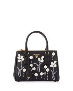 Saffiano Floral Mini Double-Zip Galleria Tote Bag, Black/White (Nero Bianco) by Prada at Neiman Marcus.