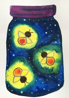 Kathy's AngelNik Designs & Art Project Ideas: Glow in The Dark Firefly Art Lesson Beautiful spring art from my elementary school. Lots of inspiration for you! Summer Art Projects, School Art Projects, Kindergarten Art Projects, Art Projects For Kindergarteners, Children Art Projects, Art School, School Ideas, Diy Projects, Firefly Art