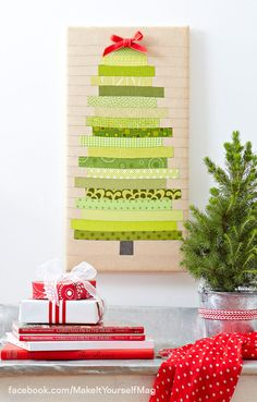 Transform basic canvas hanging into an eye-catching tree by piecing together strips of green patterned fabrics. (Designer: Elizabeth Beese) For instructions, purchase your digital issue here: http://www.zinio.com/www/browse/issue.jsp?skuId=416279179&prnt=&offer=&categoryId=