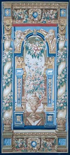 GFA Tapestry V-102 - GFA Tapestry V-102  Material: Wool  Construction: Tapestry Flat-Weave  Description: The Ancient art of weaving antique Tapestries has dated as far back as the 14th century. These ancient masterpieces were once originally decorative paintings done by famous artists. Master weavers transformed these paintings into beautiful pieces of woven art. Each Gallerie One tapestry is woven using only the finest wools, silks and dyes, requiring up to 250 shades of wool and up ...