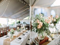 white tent, string lights, vintage pink flower centerpieces, burlap table runner. Mason jars, tea candles --- love the simplicity.