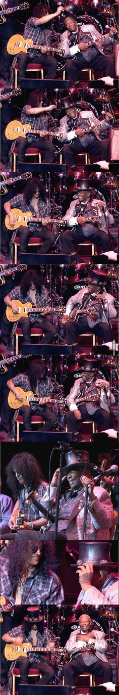 Only BB King Couldve Gotten The Hat Off Slash From Guns N Roses 8 Pics. Just a couple of cute boys jammin and havin fun. Guns N Roses, Blues, Les Paul, Beatles, Rock Poster, Jazz, Best Guitarist, Slash, Rockn Roll